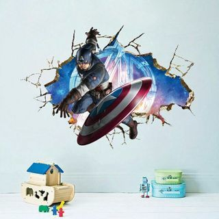 Free Superhero Captain America Marvel 3d Wall Sticker Mural Bedroom