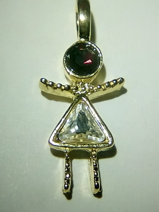 Dark Red & Shiny Clear Stone,Girl Charm in Red Bag