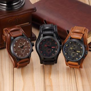 [GIN FOR FREE SHIPPING] Men Date Stainless Steel Leather Analog Quartz Sport Wrist Watch
