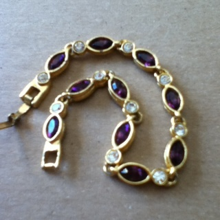 Purple And White Gem Bracelet