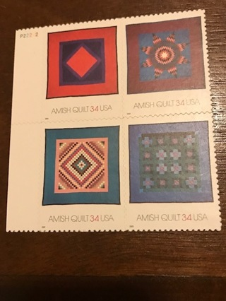Scott # 3524-3527 - Plate Block Of 4 - Amish Quilts - MNH - 2001