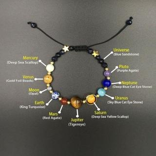 Unisex Universe Galaxy 8 Planets Solar System Natural Stone Bracelet Gift