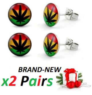 BRAND NEW Rasta Colors Earrings STAINLESS STEEL Marijuana Leaf Ganja Jewelry cannabis FREE SHIPPING