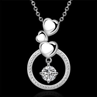 Women 925 Sterling Silver Plated Circle Gemstone Pendant Necklace Chain Jewelry