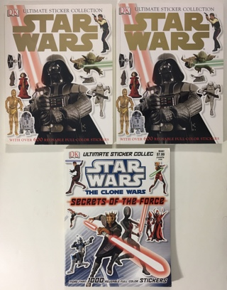 Star Wars Ultimate Sticker Collection Books Lot of 3 (Over 1300 Stickers) by DK 2007/2011
