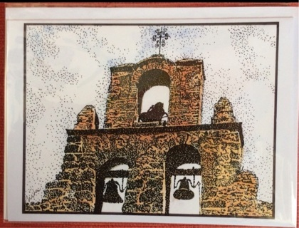 "SAN ANTONIO BELL TOWER - 5 x 7"" Art Card by artist Nina Struthers - GIN ONLY"