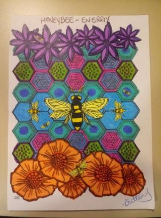 Completed Honey Bee Coloring Page