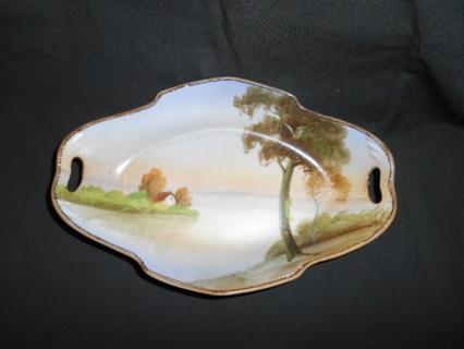 VINTAGE HAND PAINTED 2 HANDLE CELERY DISH