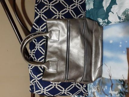 Metallic gray purse