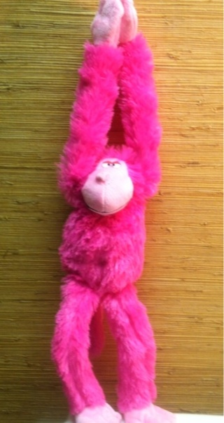 Free Goin Ape Bright Pink Hanging Plush Toy Monkey Velcro Hands