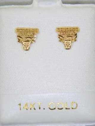 14 Kt Gold Chicago Bulls Earrings
