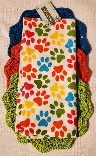 "Crochet 3 - 9"" Dish Cloth/Wash Cloths/1 EVERYDAY FLOUR SACK TOWEL"