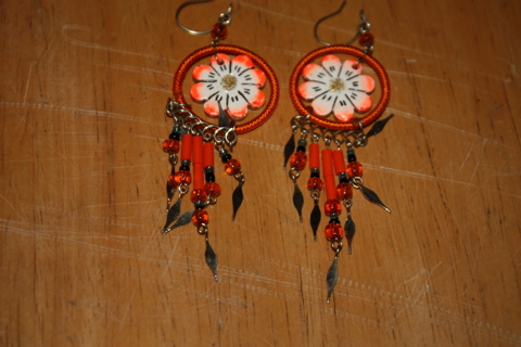 orange flower earring dreamcather