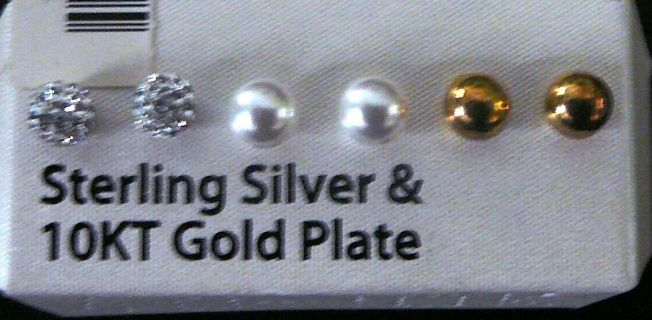 3 Sets of Earrings, Sterling Silver Studs, Pearls and Gold Plated Balls Earrings