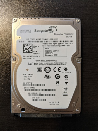 "Seagate 2.5"" 250GB SATA HDD"