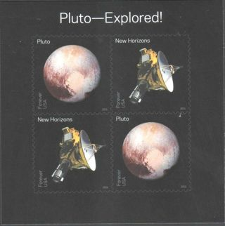 "US Stamp SOLAR SYSTEM 2016 ""PLUTO EXPLORED"" Mini sheet of 4, FOREVER"
