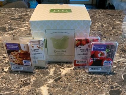 New Green Bird Electric warmer & 4 wax tartes