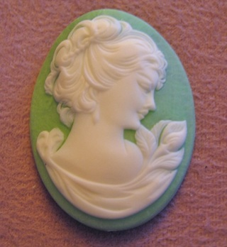Green Resin Lady Cameo