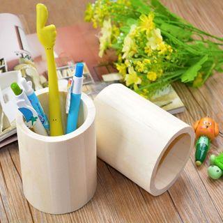 Wooden Pen Pencil Case Holder Stationery Box Storage Mud Base Art Crafts Toys