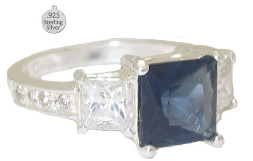 BLUE SAPPHIRE & 925 STERLING SILVER RING Sizes 6-10 BOXED NEW VERY NICE JEWELRY