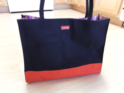 Beautiful Lancome Bag Tote Purse Black Red Blue White Stripe New Without Tags