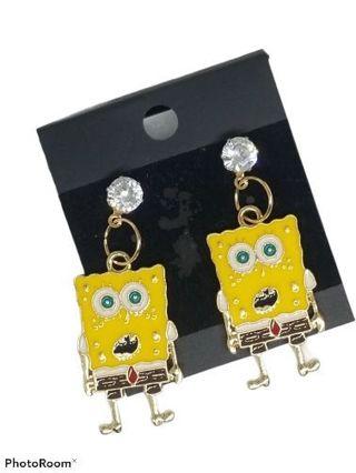 Sponge bob drop earrings studs funny New Free ship