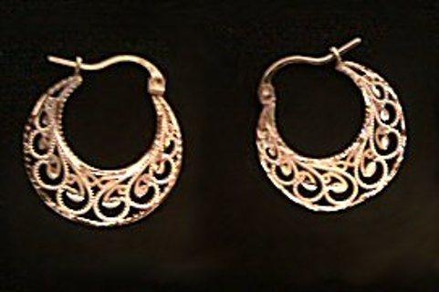14k Gold Filigree Hoop Earrings