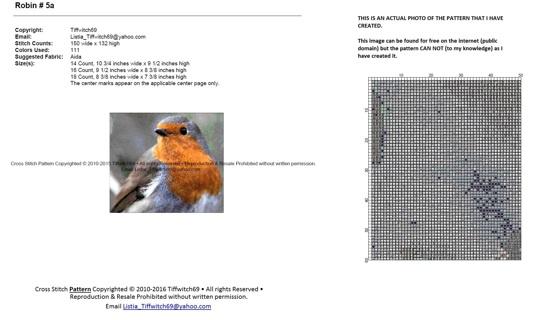 Robin Cross Stitch Patterns ***WINNERS CHOICE***