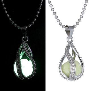 Romantic Love Gift Little Mermaid's Teardrop Pendant Glow In The Dark Necklace