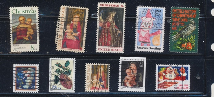 United States:  (10) Christmas Stamps, All Different, Used, In Excellent Condition - CHS-1040a