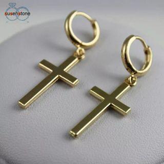1 Pair Fashion Steel Cross Tragus Upper Ear Cartilage Earring Piercing