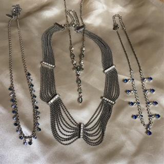 4 Necklaces w/Rhinestones - La Sofia, Claire's, 1928