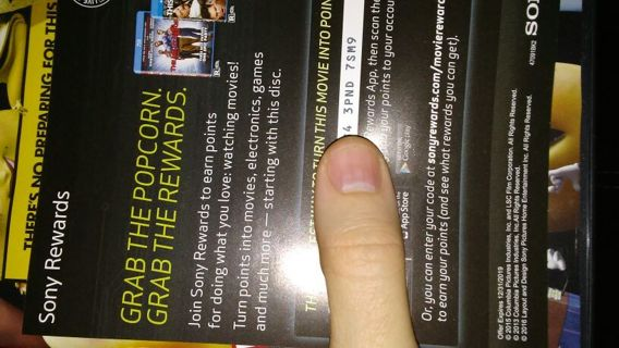 Sony rewards code from DVD