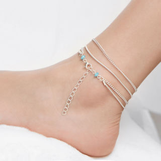 Adjustable Silver Chain MultiLayer Beach Anklet Bracelet Barefoot Sandal Jewelry