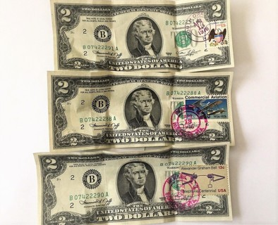 Lot Of 3 $2.00 Bill First Day Issues Commercial Aviation