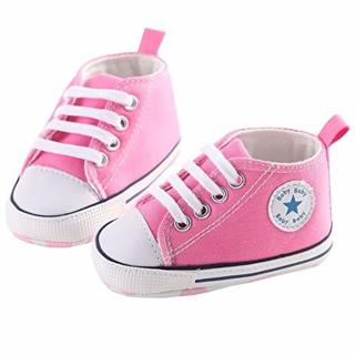 Toddler Baby Shoes Newborn Boys Girls Soft Soled Crib Shoes Prewalker Sneakers (Pink, 12-18 Months)