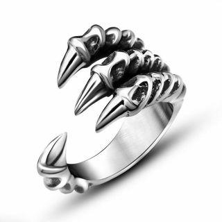 Fashion Men's Gothic Punk Skull Head Biker Charm Titanium Steel Finger Rings