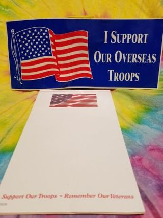 """BUMPER STICKER """"I SUPPORT OUR OVERSEAS TROOPS"""" & THIN 5 SHEET JOT PAD W/ SAME SAYING"""