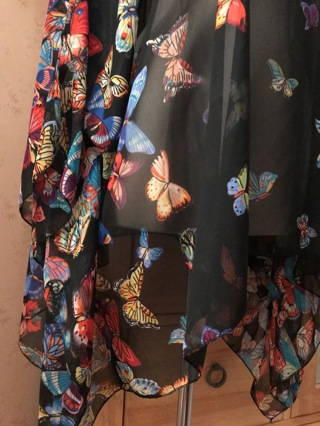 Butterfly Butterflies Women's Chiffon Caftan Poncho Tunic Top + Mystery Freebies