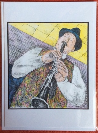 """THE CLARINETIST - 5 x 7"""" art card by artist Nina Struthers - GIN ONLY"""