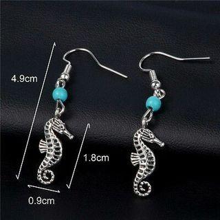 Hook Earrings Sea Horse Earring Turquoise Bead Stylish NEW