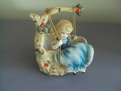 Vintage Girl On A Swing Planter