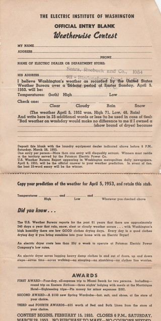 Contest entry form from 1953 Weatherwise Contest