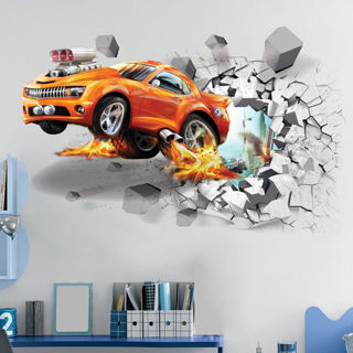 3D Car Break Through Wall Stickers Decals Kids Room Home Decor Removable