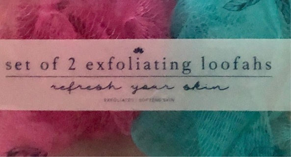 BNIB Two Pack Of Exfoliating Loofahs. One Hot Pink and One Green Teal. FREE Shipping.