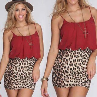 Fashion Womens Leopard Printed Short Skirt High Waist Bodycon Hip Mini Skirt Leopard Pencil