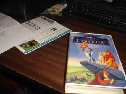 the lion king movie on vhs,exc cond.walt disney.