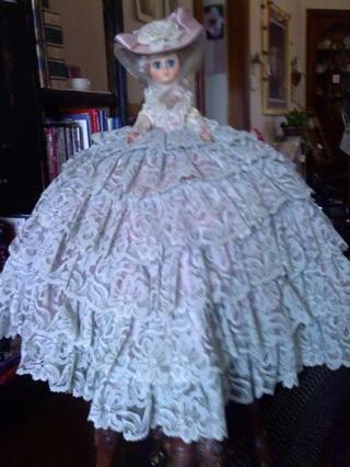 Antique Bed Doll Mint Green Dress W