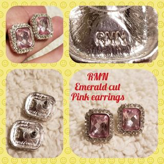 Classy RMN Emerald cut Pink Earrings