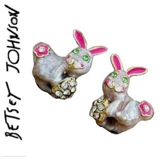 Betsey Johnson beige bunnies earrings New Free Ship